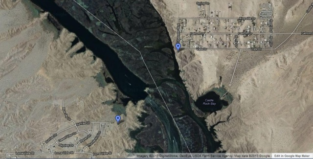 Castle Rock is the blue pin on the east side of the river while one of the possible access points for Havasu Landing is on the west side. See text for details.